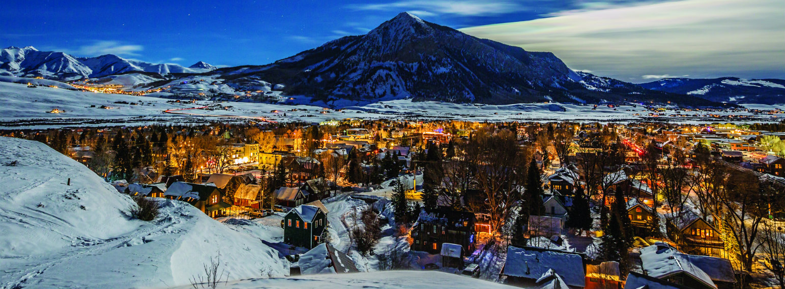 Crested Butte Ski Resort Moon Over Town