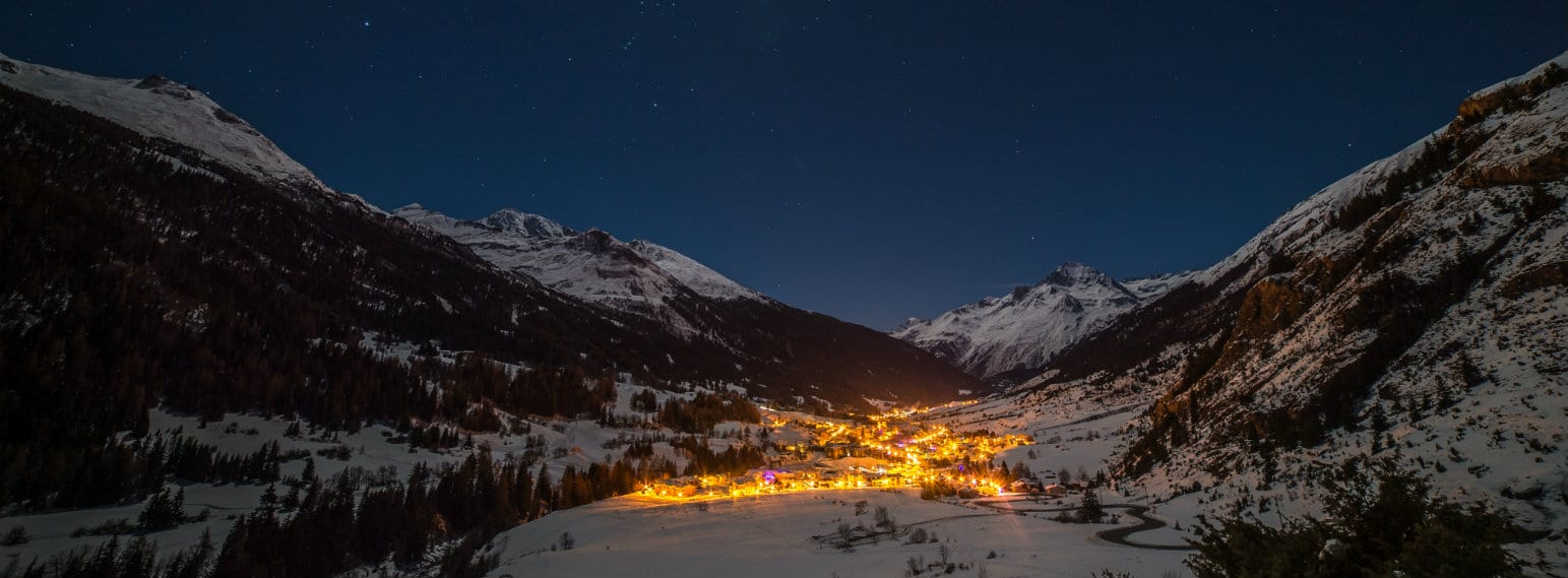 Val Cenis Lanslevillard Ski Resort by night